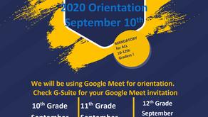 2020 RGHS Orientation September 10th