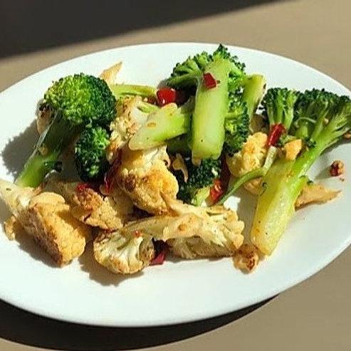 Roasted Broccoli and Cauliflower with Garlic and Chili (GF)