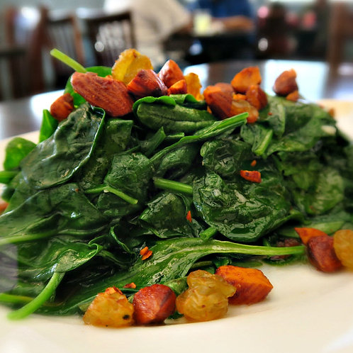 Sauteed Spinach with almonds and golden raisins (GF)