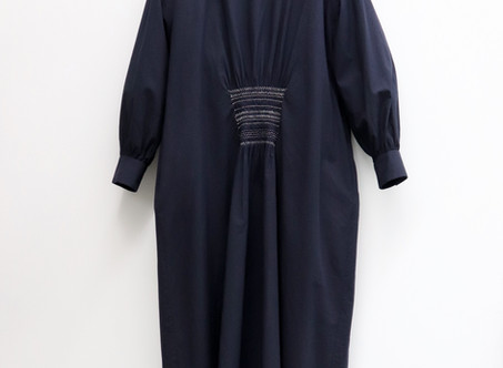 A&S Front smocking dress boat neck