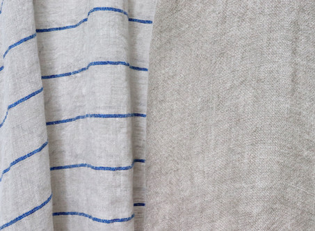 A&S <Styling> Wide border linen gauze & Loose linen double cloth