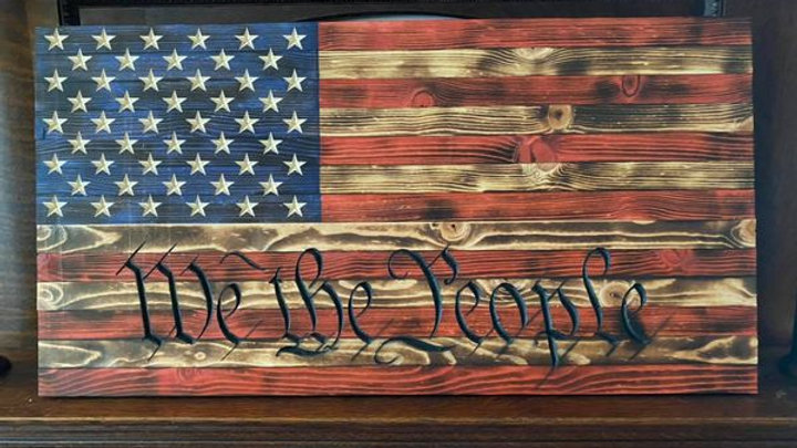 Wooden American We the People Flag Wall Sign