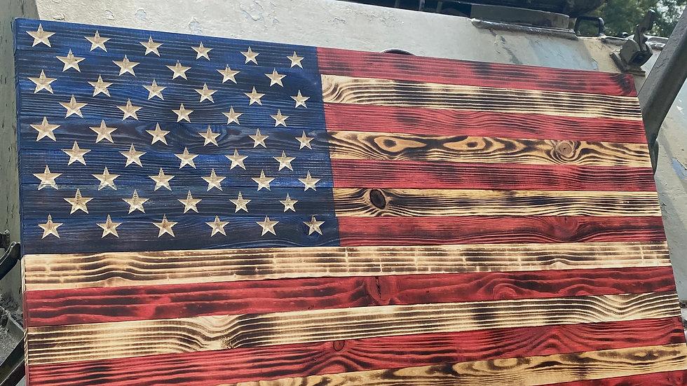 Standard Wooden American Flag Sign Wall Art