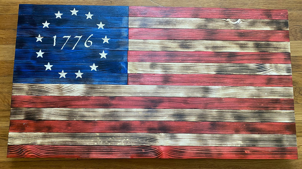 Betsy Ross 1776 Wooden American Flag Wall Art