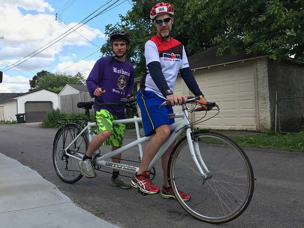 Louie and Todd on the Tandem Bike.  Training.