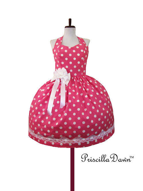 Pearl the Pink Polkadot Dress with Lace n Ties