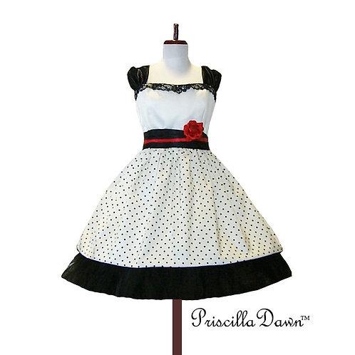 Alternative Retro Wedding Dots Dress and Petticoat