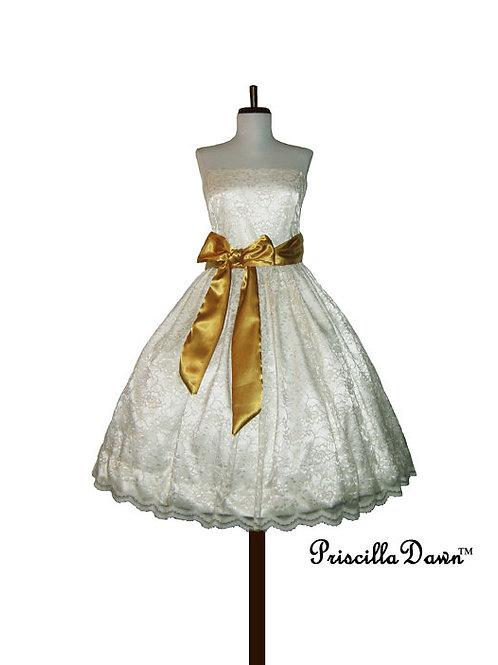 Lace Cream Tea Length Wedding Gown
