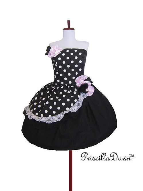 Retro Black Dots and Flowers Dress