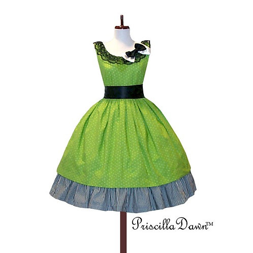 Green Striped Dress with Bow