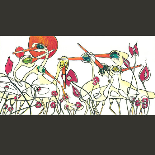 "Original Painting - Crazy Birds 6"" x 12"""