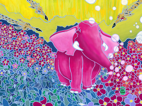 """Pink Elephant Blowing Bubbles 11"""" x 14"""""""