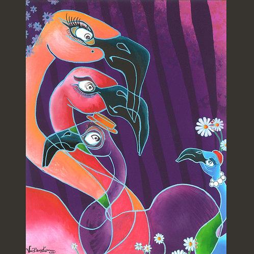 """Original Painting - Flamingo In Law 8"""" x 10"""""""