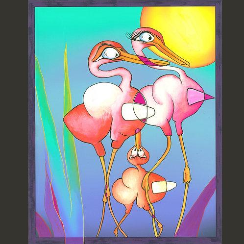 "Original Painting - Tall Bird Family 16"" x 20"""