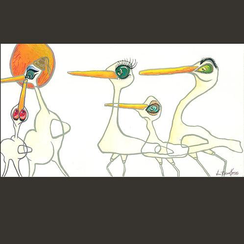 "Original Painting - Miami Birds 11"" x 5.75"""