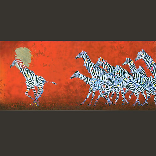 "Giclee Print - Ziraffe's -One Step Ahead 16"" x 36"""