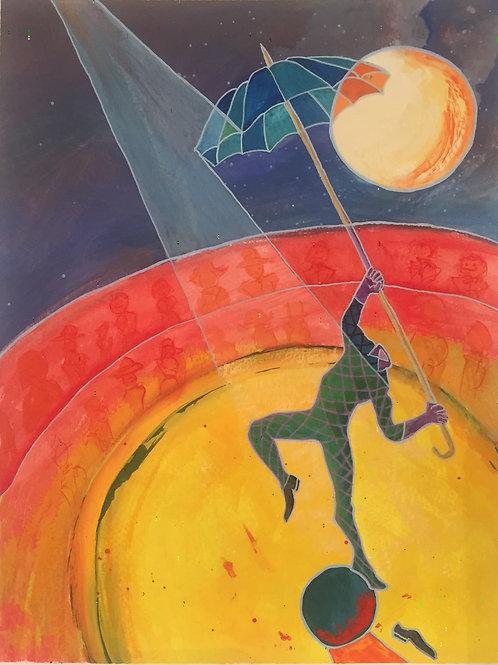 "Original Painting - Circus Unaware 9"" x 12"""