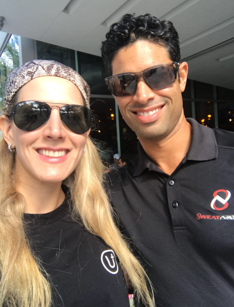 Sweat Nation founder Flip Aguilera With You health rep Valentina. Ask about blood tests to optimize your personal health.