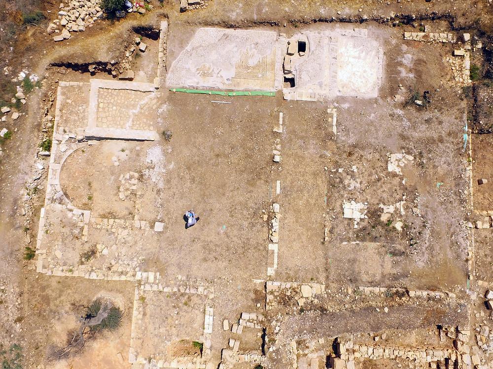 Eastern Church at Khirbet et-Tireh aerial view