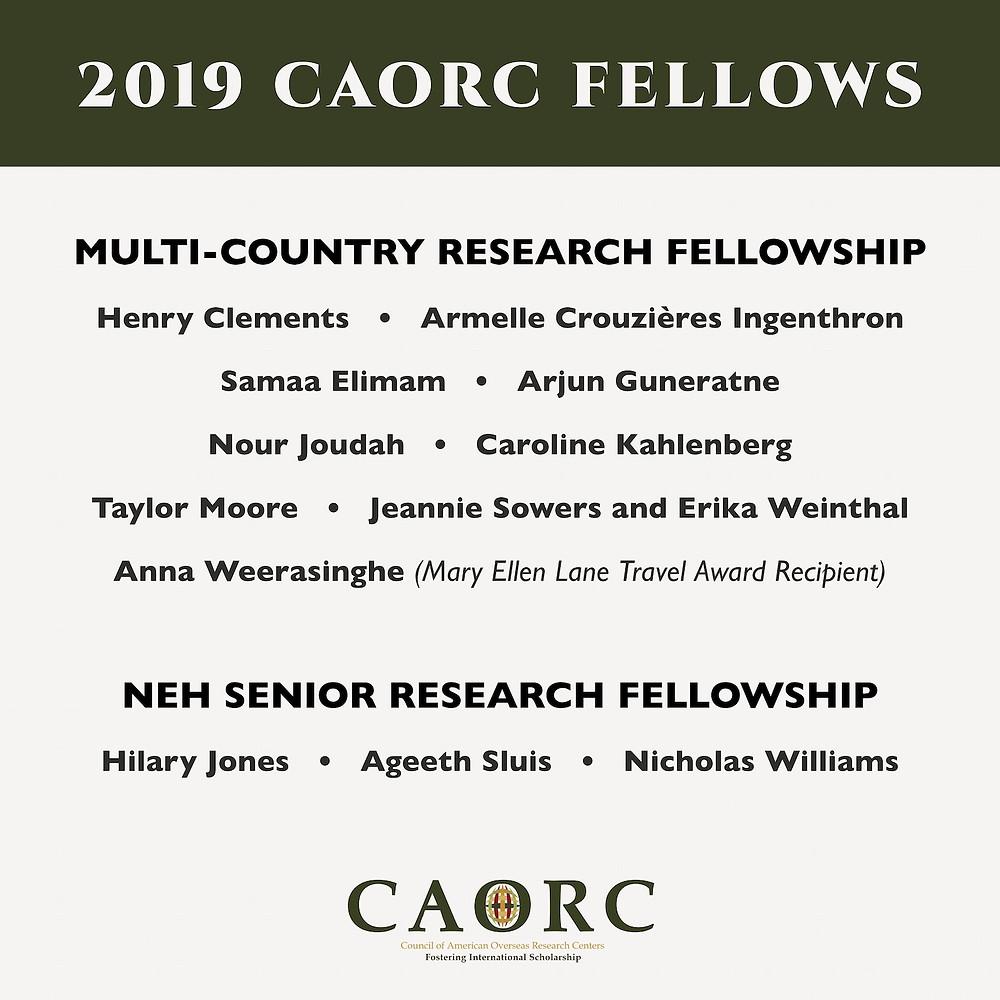 CAORC 2019 fellows list