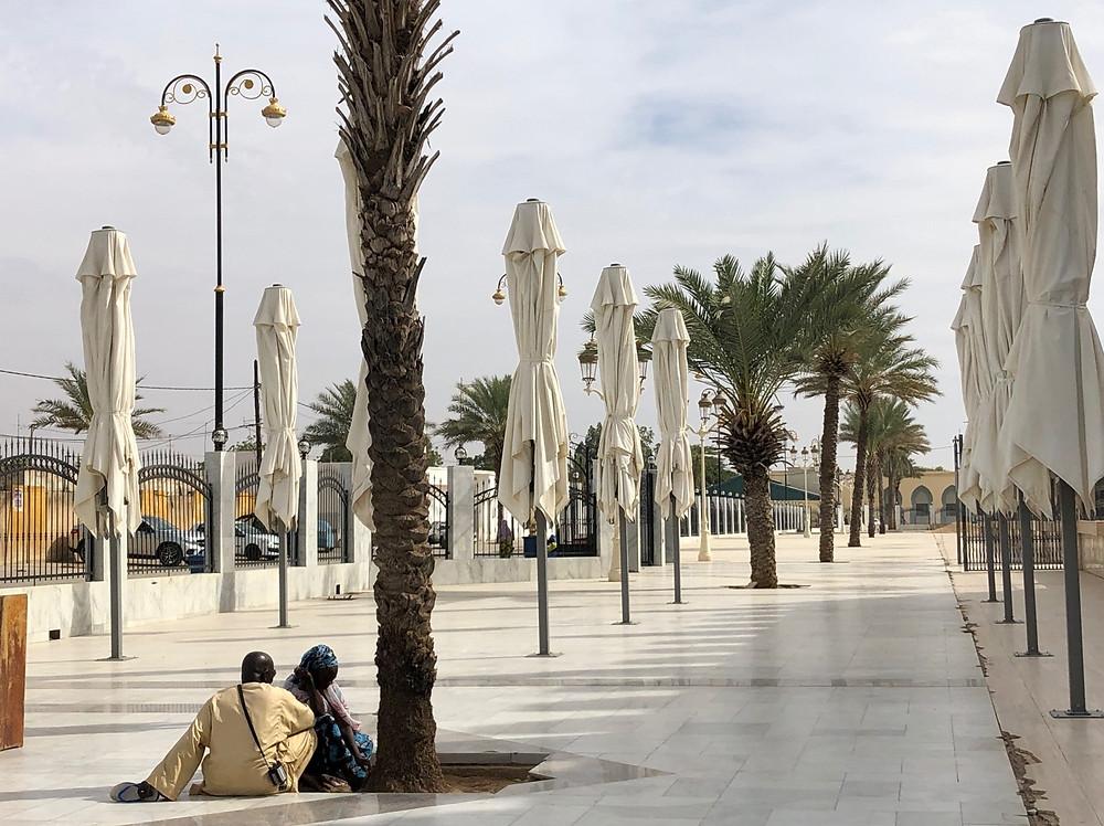 Touba Great Mosque exterior marble courtyard