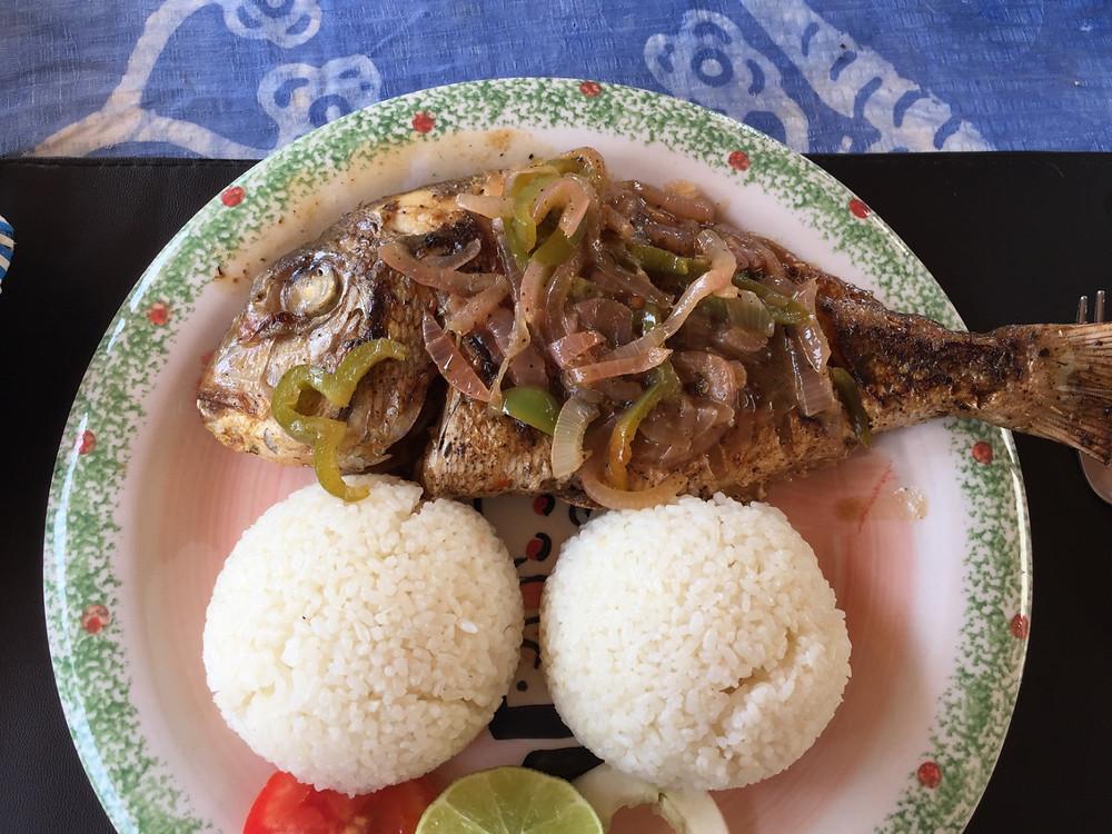 Karen Barton CAORC fellow Senegal ceebu jen fish and rice