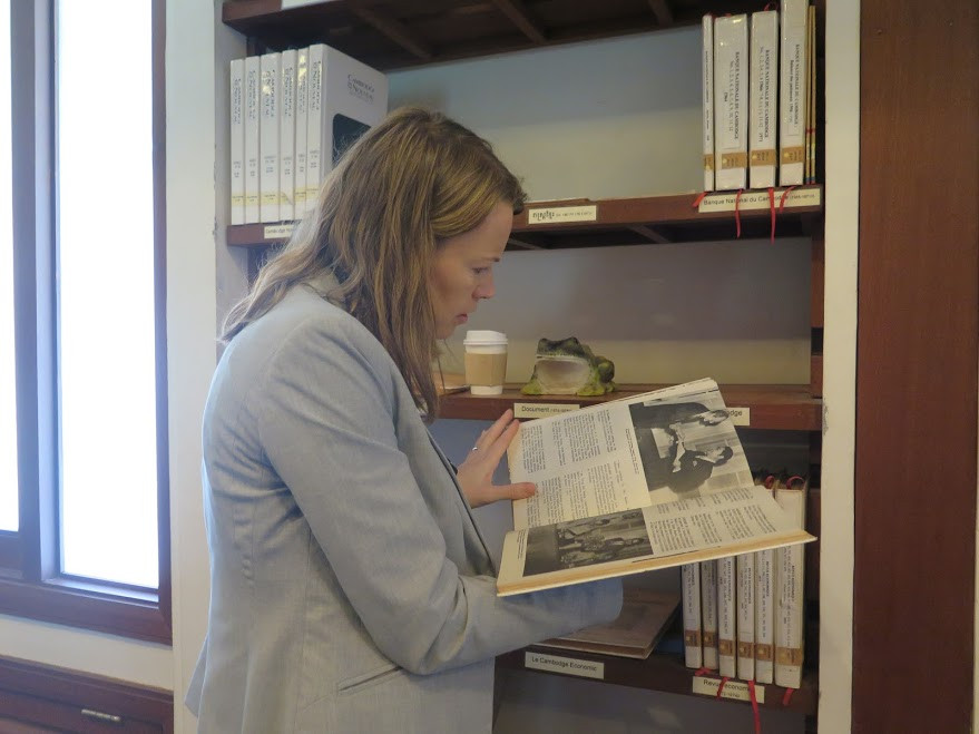 Cultural Affairs Officer Monica Davis searching the CKS Library