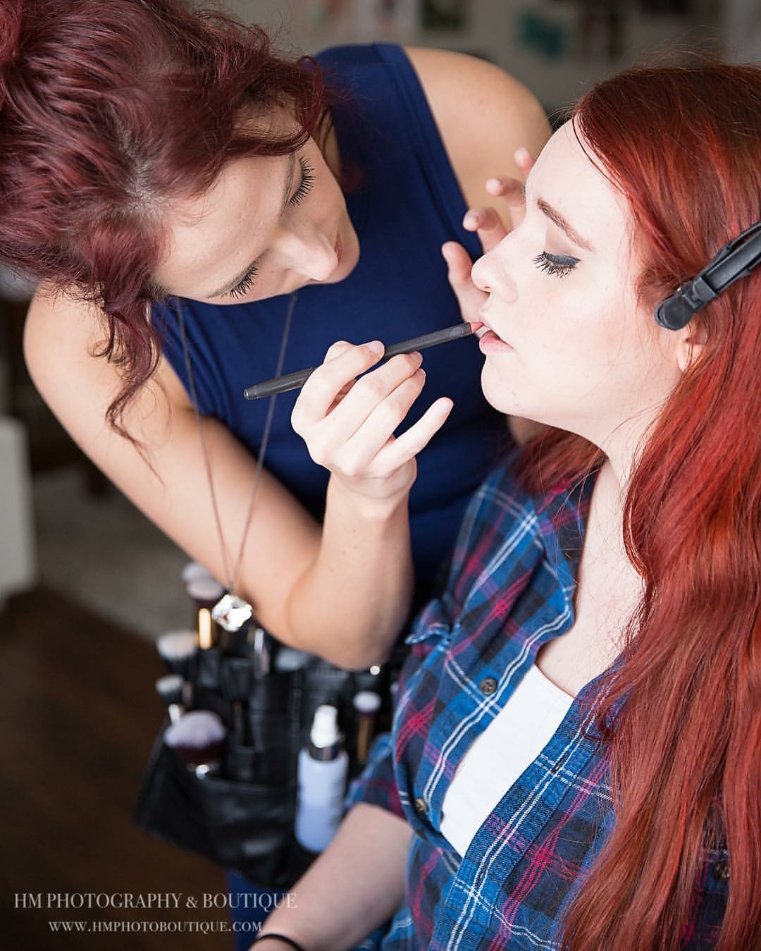 makeup application for glam shoot
