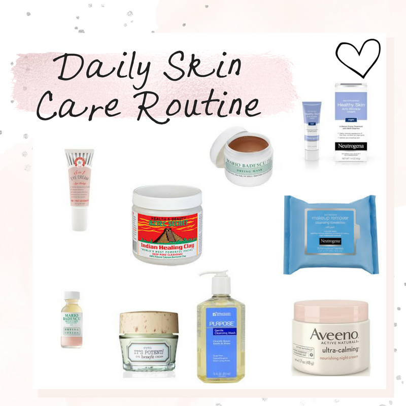 Daily Skin Care Routine, neutrogena, aveeno, moisturizer, eye cream, retinol, skin care