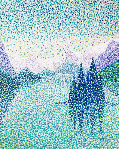 Spirit Island, MaligneLake, Jasper - contemporary Canadian painting