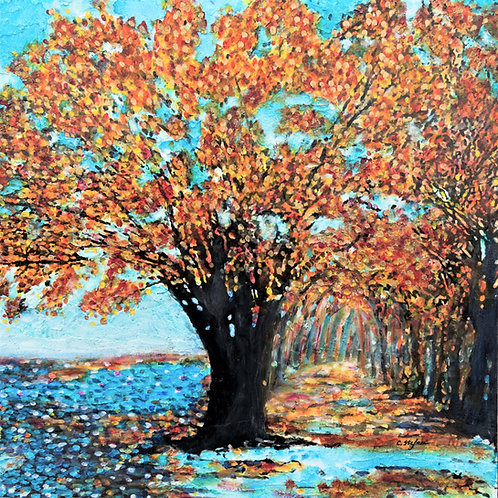 Autumn Tree by the River
