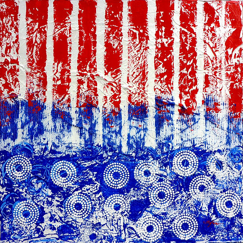 Tendencies - abstract painting in blue, red and white - artstudio29