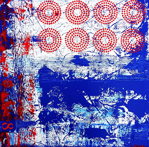 Eight - Abstract painting in Blue and Red - ArtStudio29