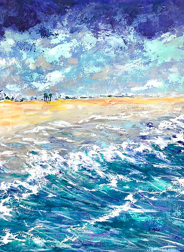 Detail of seascape painting - Beach in Coma Ruga, Spain - ArtStudio29
