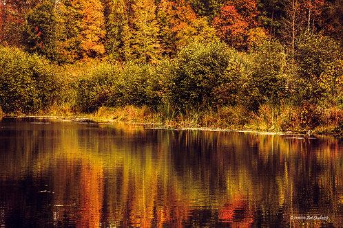 Autumn Landscape by the River - Quebec, Canada