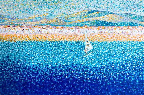 Altafulla, Spain - Mediterranean Seascape with sailboarder - original contemporary painting