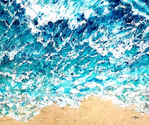 Mediterranean seascape - aerial view. Contemporary painting - artstudio29