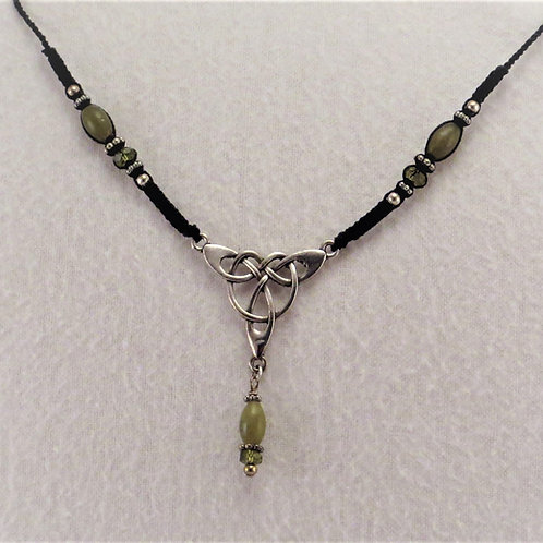 Celtic Necklace and Earrings Set with Jade & Olivine