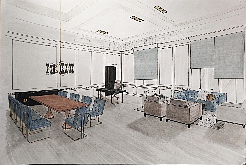 Предварительный эскиз кабинета