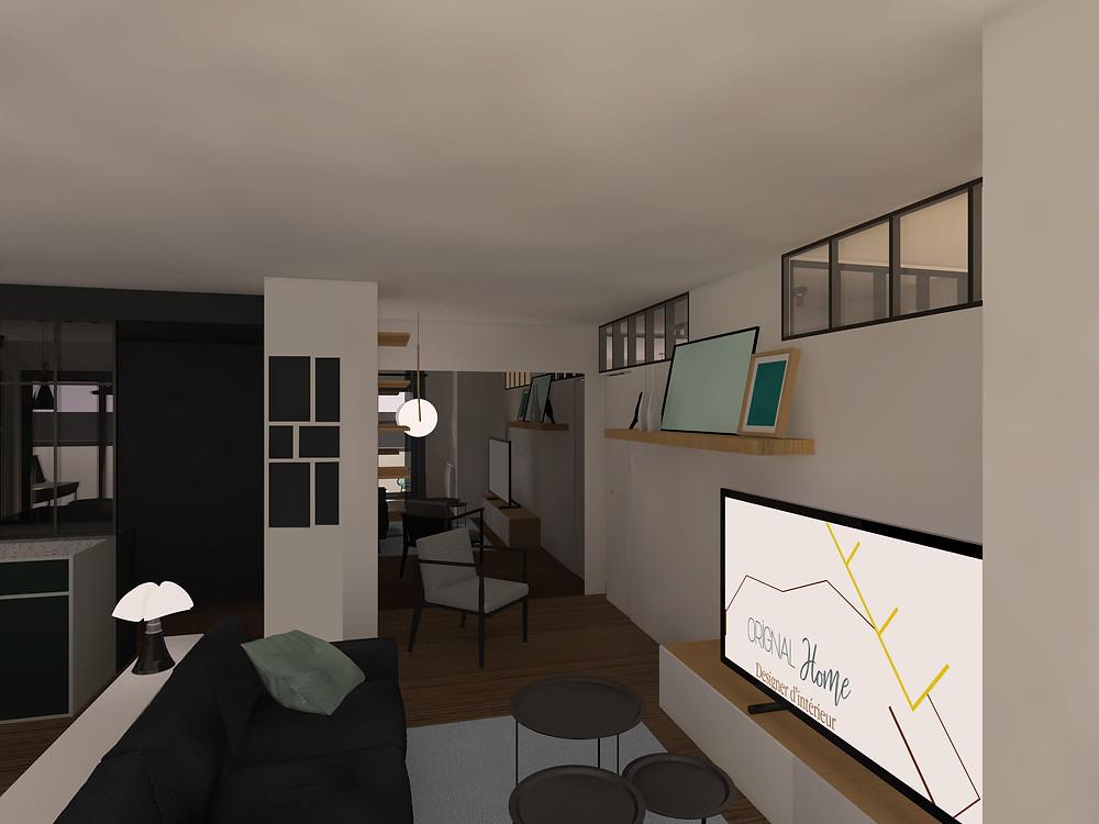 Nouvel aménagement d'un coin lecture dans le salon. La décoration est minimaliste et grâce aux vues 3D, les futurs acheteurs se projettent.
