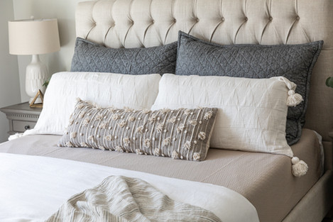 Master bedroom bedding by Cabana Rehab Interiors