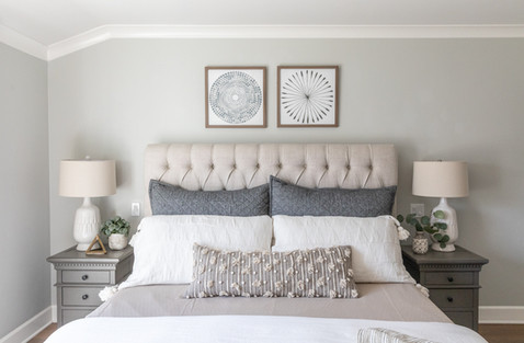 Serene master bedroom with layered bedding