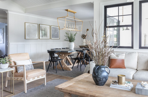 Modern farmhouse dining room with Visual Comfort Darlana chandelier