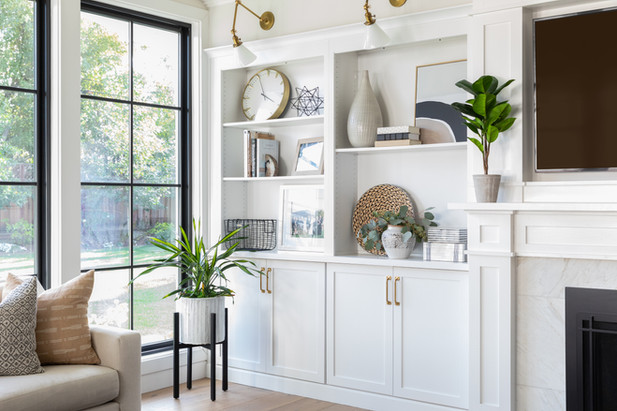 White built-ins and black windows