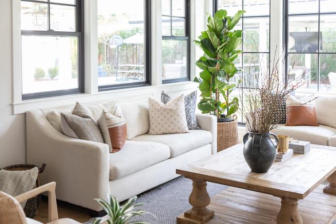 Organic modern living room with black windows by Cabana Rehab Interiors
