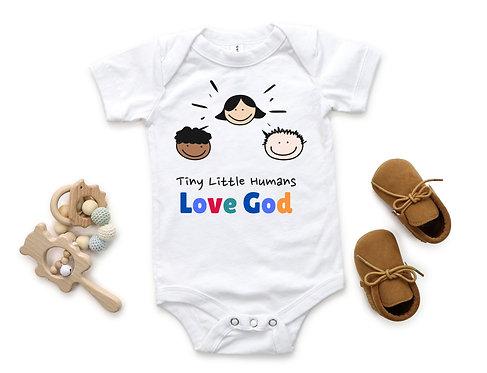 Tiny Little Humans Love God ( Baby Boy* One Piece )
