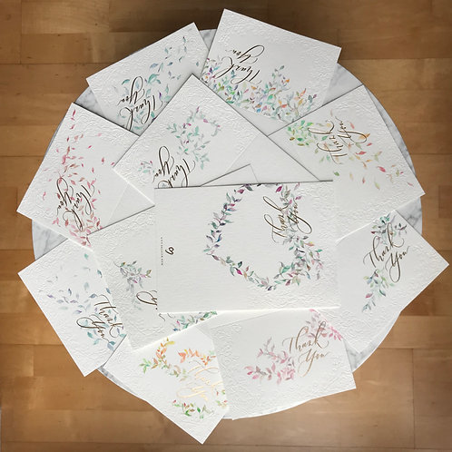 Thank You Card (with Hand drawn foliate)- Set of 10