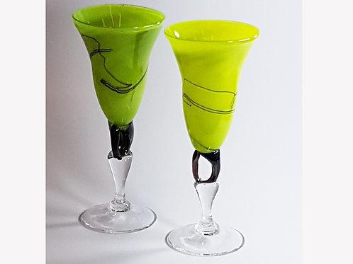 Kunstglass Eplegrønne Krøllevinglass