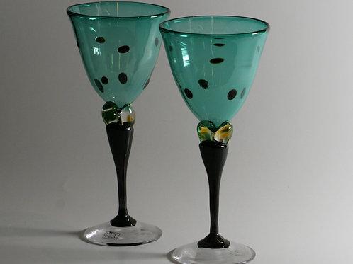 Kunstglass Dunkelgrønne Hjerteglass