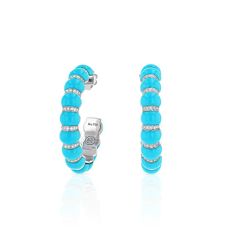 Large Cerith Hoops - Turquoise